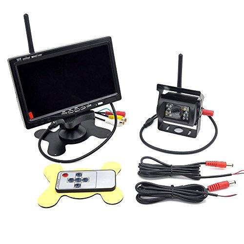 7 Zoll LCD Monitor with Rückfahrkamera drahtlos für Anhänger, Bus, LKW, Pferdeanhänger, Schulbus, Digital Wireless Backup Kamera-Kit Digital Rückfahrkamera mit integriertem Wireless-Empfänger 2,4 GHz