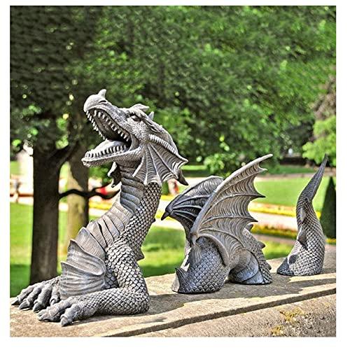 Grande drago gotico Garden Decor – Il drago di Falkenberg Castle Moat Lawn Statua da giardino e statua divertente, arte di cortile, gelo e statua resistente all'inverno (grigio)