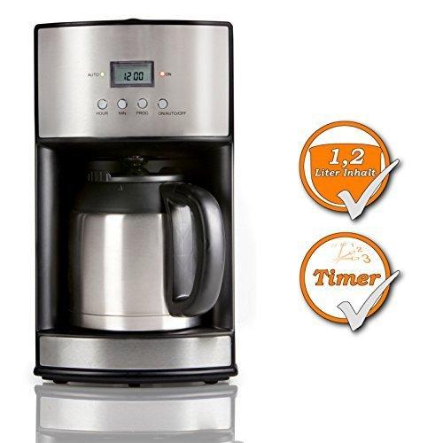 Roestvrijstalen design koffiezetapparaat met timer en thermoskan + wasbaar permanent filter