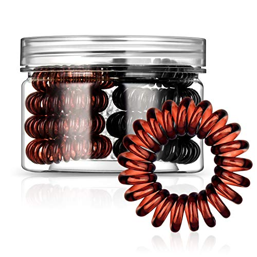 Spiral Hair Ties, 12Pcs Traceless Hair Ring, Coil Hair Ties, Phone Cord Hair Ties, Hair Coils - (Black 4 Pcs, Brown 4 Pcs, Transparent 4 Pcs)
