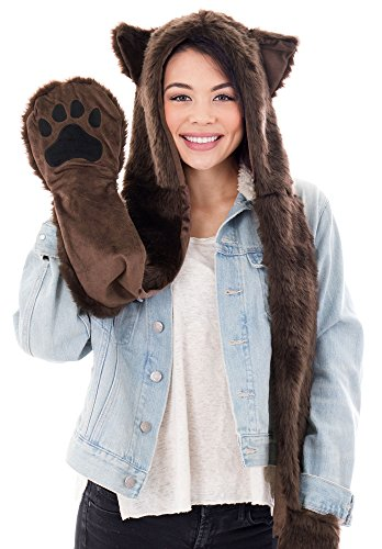 Simplicity 3 in 1 Lovely Animal Beanie Cosplay Hats Scarf with Mittens, Bear