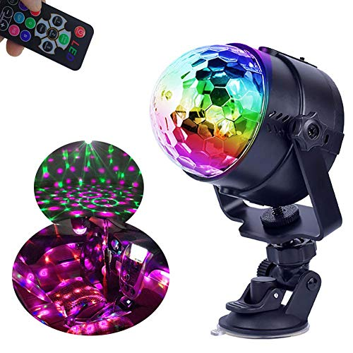 Mini Car Party Disco Ball Battery Operated Disco Lights USB, RGBP 12 Colors Led Strobe Light Projector Room Indoor Outdoor