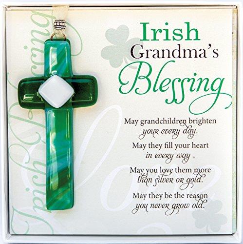 Irish Grandma Gift- Grandmother Blessing with Handmade in USA Glass Cross- New Grandma, Birthday, Mother's Day