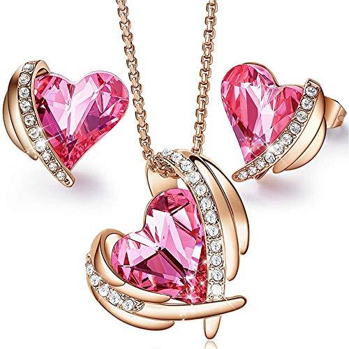 NKL Set Impreziosito Gorgeous Pink Rosa D'Oro Gioielli con Figura Cristalli Cuore Collana e Orecchini Set