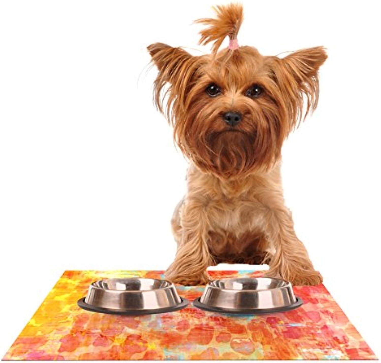 KESS InHouse Ebi Emporium Pastel Jungle  orange Red Feeding Mat for Pet Bowls, 24 by 15Inch