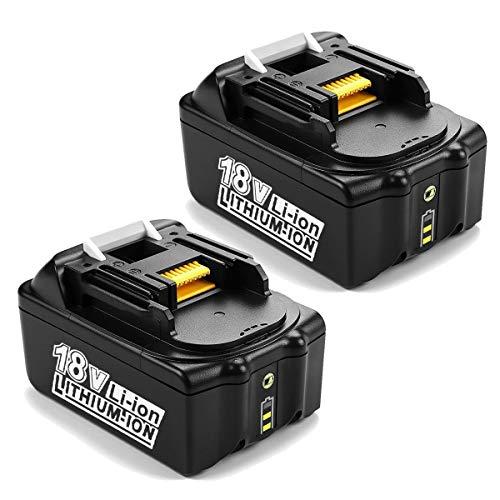 [2 Stück] POWER-XWT 18V 5,0Ah Li-ion Ersatzakku für Makita BL1850 BL1815 194205-3 194309-1 BL1840 BL1830 Werkzeugakkus