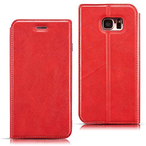 EATCYE Coque pour Galaxy S7 Edge, Housse pour Galaxy S7 Edge, Coque Ultra Mince Cuir PU Luxe Portefeuille à Aimant Fente Carte Étui de Protection pour Samsung Galaxy S7 Edge (Rouge)