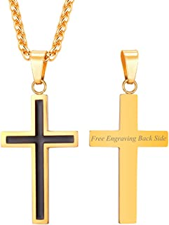 "U7 Men Boys Simple Cross Necklace with Chain 22"" Stainless / 18K Gold/Ion-Plating Blue Pendant, Customizable Jewelry"