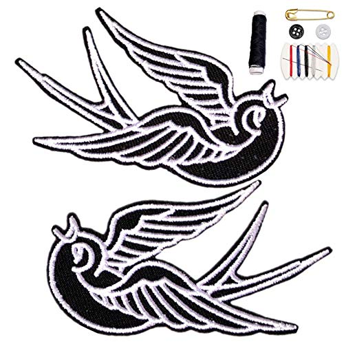 Youyun Iron On Patches,2 Pcs Cute Swallow Embroidered Patch Cloth Patch DIY...