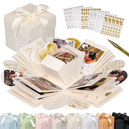 weddlyn® – Überraschungsbox – hochwertiges Papier & Verarbeitung – Explosionsbox mit modernen Stickern und Stift – DIY Box – Explosionsbox Hochzeit inkl. Anleitung – Creme weiß (glänzend)