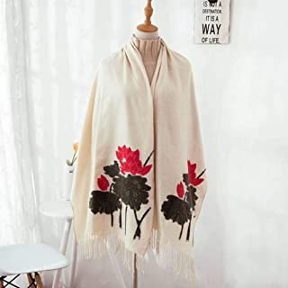 Cut Flowers Fall & Winter Thick Cashmere Scarves Korean All Match Dual Office Fringed Shawl Lotus Trend, houseHold, Beige, 60 200cm