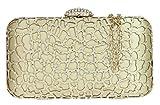 Girly HandBags–Mujer elegante satén Caja Antebrazo bolso Clutch de diamantes gelasert bolso, color Dorado, talla W 15, H 8, D 5 cm (W 6, H 2, D 3 inches)