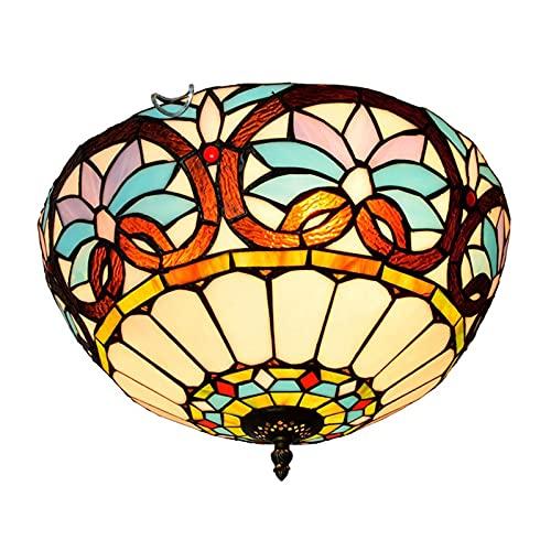 Plafoniere retrò in stile tiffany, lampada a sospensione a soffitto in vetro colorato barocco da 16 pollici, lampadario a 3 luci per camera da letto, cucina, balcone, Corridoio