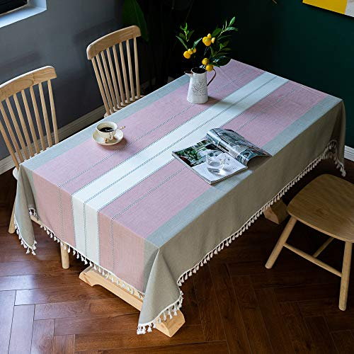 XIAOE Tablecloths Rectangular Blue White Striped Tassel Wipe Clean Table Cover Home Decoration Living Room Washable Cotton Linen Table Cover Buffet Decoration 140 * 220cm