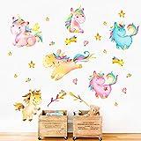decalmile Pegatinas de Pared Unicornio con Color del Arco Iris Vinilos Decorativos para Bebés Guardería Habitación Infantiles Niños Dormitorio