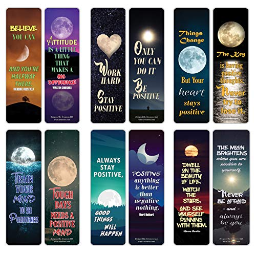 Creanoso Moon Light Stay Positive Quotes Bookmarks (12-Pack) – Awesome Bookmarks for Bookworm, Bibliophiles – Unique Book Reading Page Binders – Stocking Stuffers Gifts Rewards Token Ideas