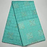 Laliva New Arrivals African Swiss Voile Lace 100% Cotton Lace Fabrics French Stones Lace Sky Blue Wholesale Voile - (Color: As Picture 8)