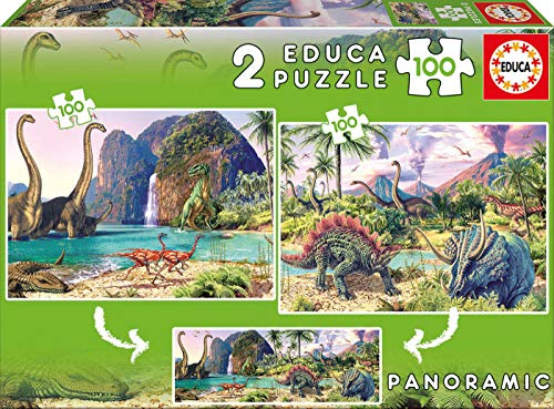 Educa Borrás Tren Puzzle 2X100 Dino World, Color (15620)