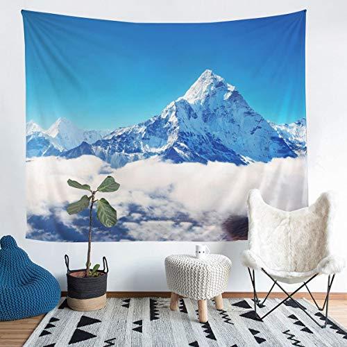 Loussiesd Manta para colgar en la pared para niños, niños, adolescentes, paisajes naturales, decoración de pared, color azul y blanco