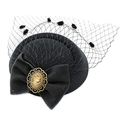 Ahugehome Fascinator Hair Clip Headband Pillbox Hat Victorian Lady Cameo Bowknot mesh Tea Party