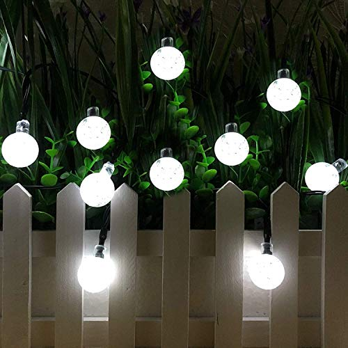 Solar String Lights Globe 38 Feet 66 Crystal Balls Waterproof LED Fairy Lights 8 Modes Outdoor Starry Lights Solar Powered String Light for Garden Yard Home Party Wedding Decoration (White-66LED)