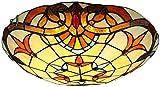 Plafoniere stile Tiffany, lampada da soffitto vintage in vetro colorato, lampadine E27 retro tondo a soffitto a sospensione per apparecchi di illuminazione per soggiorno camera da letto,B,30cm