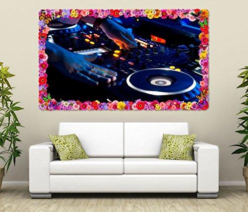 3D Wandtattoo Musik DJ Disco Mischpult House Blumen Rahmen Wandbild Tattoo Wohnzimmer Wand Aufkleber 11L1142, Wandbild Größe F:ca. 97cmx57cm