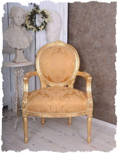 KÖNIGLICHER MEDAILLON Sessel Schloss Pompadour Gold ANTIK Look Palazzo Exclusiv