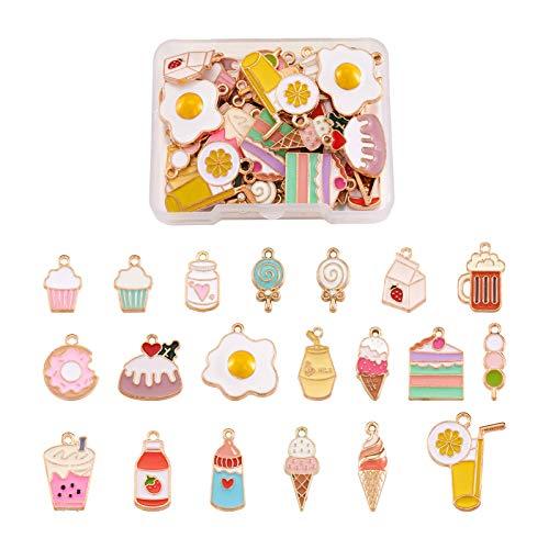 Craftdady 40 colgantes esmaltados con diseño de postre tartas, donut, leche, cerveza, helado, piruleta, colgantes para hacer collares y pulseras y manualidades