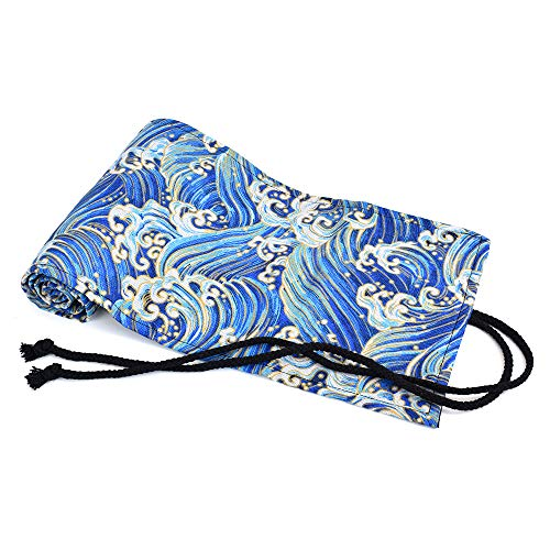 LIFEMATE Canvas Pencil Holder Pencil Wrap, 72 Colored Pencil Roll Up Travel Drawing Coloring Pencil Holder - Blue Waves (Pencils are not Included)
