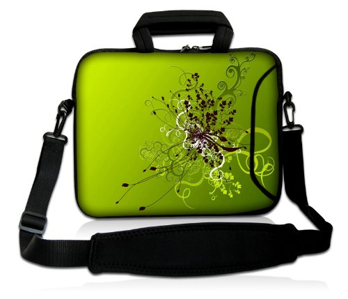 Luxburg® Design laptoptas notebooktas sleeve met schouderriem en vak voor 17,3 inch, motief: bloemenornament op groen