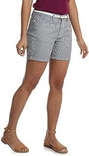 Lee Riders Women's Belted Short (Size 8) Yarn Dyed Stripe Blue & White