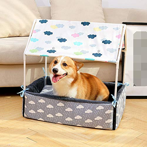 Foldable Pet Carrier Tent Portable Cute Dog House Soft Warm Print Cave Dog Cat Bed Tent Light Cover Puppy Kennel Nest,Pink,M
