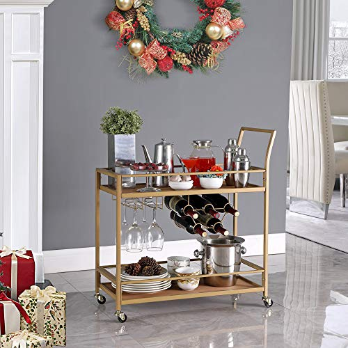 FirsTime & Co. Francesca Bar Cart, 32'H x 15'W x 12.25'D, Gold