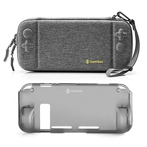[Combo Set] tomtoc Funda Rígida Original con Carcasa Trasera de Agarre para Nintendo Switch Consola, Funda Protectora de Viaje con 10 Cartuchos de Juego, Doble Protección, Gris
