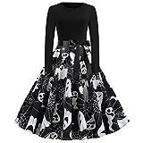 Highpot Clothing Highpot Women Halloween Long Sleeve Vintage Swing Dress With Belt Evening