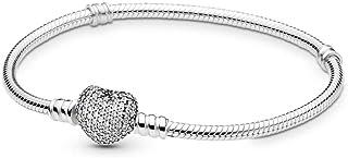 PANDORA Pavé Heart Bracelet, Sterling Silver, Clear Cubic Zirconia, 7.5 in