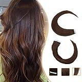 Extensiones Adhesivas de Cabello Natural Pelo Natural Humano Balayage sin Clip Tape in 100% Human Hair Lisa [ 1.5g * 20 Piezas] - 14' (35CM) #04 Marrón Medio