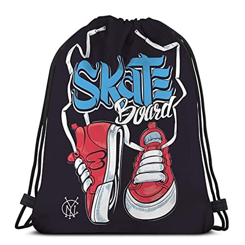 XCNGG Bolso clásico con cordón para hombre, mujer, mochila de gimnasio, bolsos de hombro, bolsa de almacenamiento deportiva, zapatillas de deporte, tabla de skate, estampado de letras
