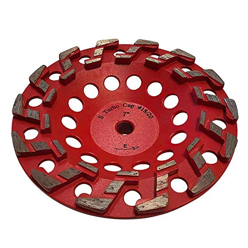7' Aggressive Grinding Wheel #18/20 Diamond 5/8'-11 Arbor for Concrete and Paint, Epoxy, Mastic, Coating Removal