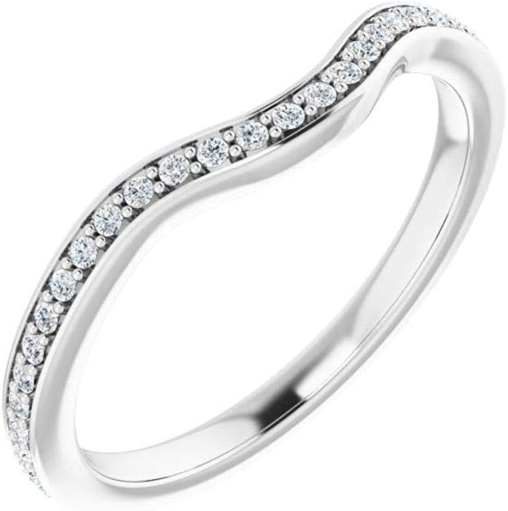 Solid Platinum 1/8 Cttw Diamond Curved Notched Wedding Band for 7mm Cushion Ring Guard Enhancer - Size 7
