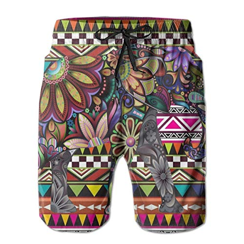 NICOKEE Cool Swim Trunks for Men, Elephant Aztec Colorful Summer Quick Dry Beach/Board Shorts