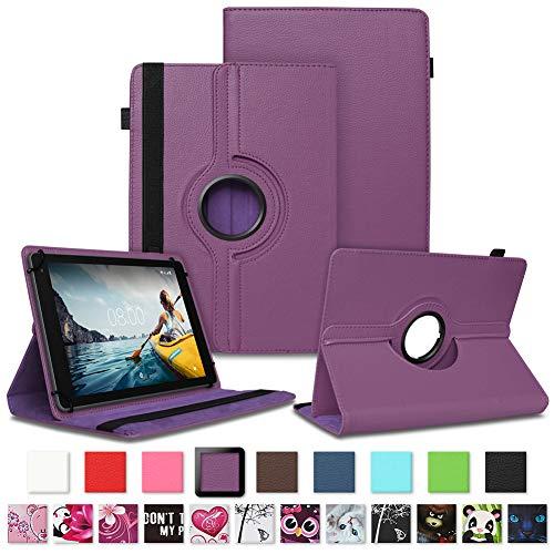 NAUC Tablet Schutzhülle für Medion Lifetab P8912 Hülle Tasche Standfunktion 360° Drehbar Cover Universal Case, Farben:Lila