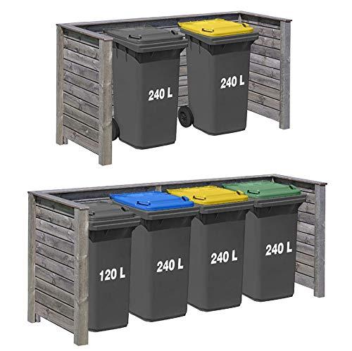 *Gartenpirat Mülltonnenbox Papperskorg Kiefer grau KDI für 2 bis 4 Tonnen, Ausführung:XL – 4 Tonnen*