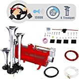 Angotrade 12V 150DB Car Air Horn Kit, 4 Trumpet Train Vehicle Air Horn with 120PSI Air Compressor for All Kinds of Vehicle, Truck, Car, Jeep or SUV (Red)
