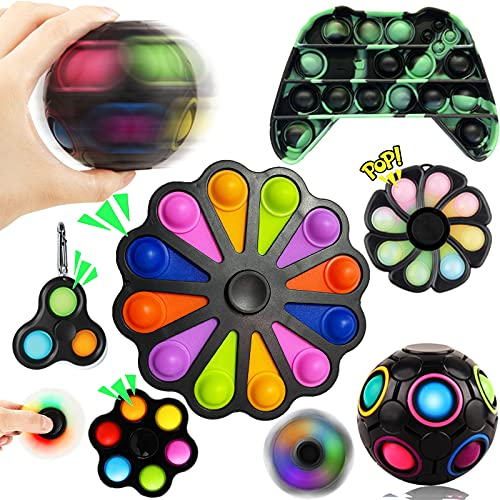 Sensory Fidget Toy Set, Fidget Spinners Toy Simple Dimple Pack Cheap with Push Bubble Pop Fidget Toy Black Flower Magic Puzzle Ball Fidget Box Anxiety Relief Cool Things Gift for Kids Adults
