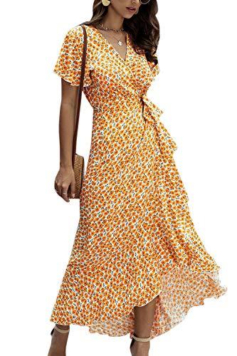 Zilcremo Damen Boho Lange Kleider V-Ausschnitt Sommerkleider Kurzarm Maxikleid Strandkleid Wickelkleid mit Gürtel Orange XL