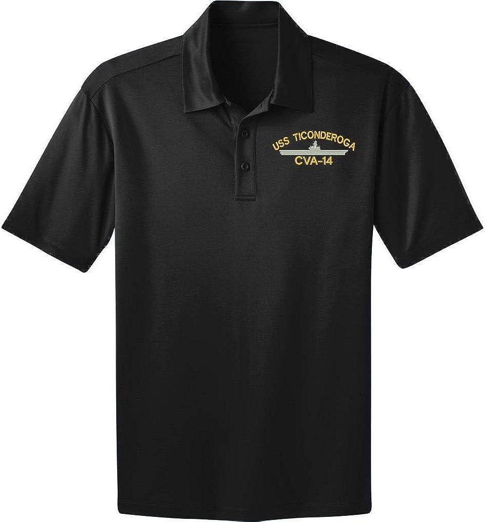 Military USS unisex Ticonderoga Online limited product CVA-14 Ship Polo Dri-Fit Shirt Black