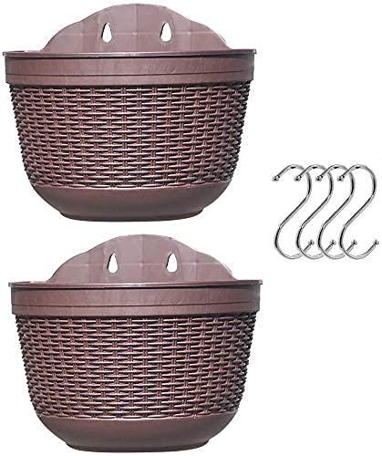 ZLJ Fioriere per vasi da Fiori sospese Appendiabiti per Piante da Appendere in plastica con 4 Ganci e Foro per perdite per Recinzione da Giardino Supporto per Fiori 21 x 135 cm Confezione da 2