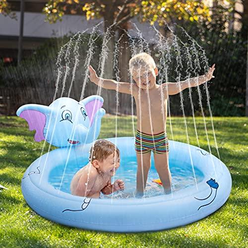TekHome Splash Pool&Pad, Garten Wasserspielzeug für Kinder,Aufblasbar Wassersprinkler Kinder,Outdoor Spielzeug ab 1 2 3 4 5 6 Jahre Baby Kleinkind Junge Mädchen, Sommer Wasser Spielmatte Spiele.